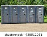 portable toilets   a row of