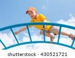 little boy is afraid of heights.... | Shutterstock . vector #430521721