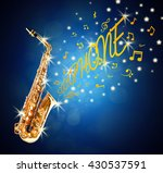 golden saxophone and flowing... | Shutterstock . vector #430537591