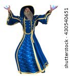 Blue Wizard Casting Spell...