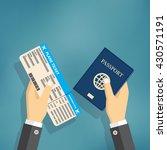 boarding pass and passport in... | Shutterstock .eps vector #430571191