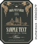 wine label with a landscape of... | Shutterstock .eps vector #430602679