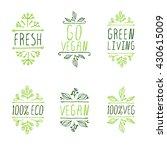 vegan product labels. suitable... | Shutterstock .eps vector #430615009