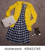 overhead of essentials elegant... | Shutterstock . vector #430621765