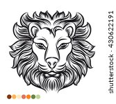 wild lion coloring page with... | Shutterstock .eps vector #430622191