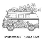 hippie vintage car a mini van.... | Shutterstock .eps vector #430654225