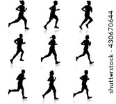 set of silhouettes. runners on... | Shutterstock . vector #430670644
