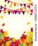 autumn leaves background with... | Shutterstock . vector #430671574
