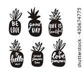 summer print with pineapple | Shutterstock .eps vector #430674775