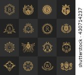 crest logo set  flourishes... | Shutterstock .eps vector #430714237