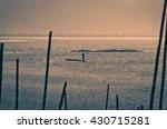 fisherman throwing net at... | Shutterstock . vector #430715281