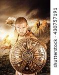 gladiator or warrior posing... | Shutterstock . vector #430757191