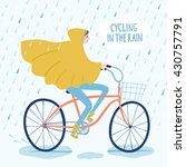 girl in raincoat riding on a ... | Shutterstock .eps vector #430757791