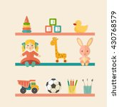 baby toys icons on shelf. place ... | Shutterstock .eps vector #430768579