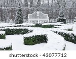 white vintage bench in park in... | Shutterstock . vector #43077712