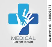 abstract medical blue helping... | Shutterstock .eps vector #430809175