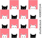 Black White Pink Cat Chess...
