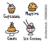 cakes  cupcakes  muffins  ice... | Shutterstock .eps vector #430860601