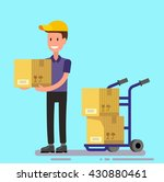 vector delivery man unload... | Shutterstock .eps vector #430880461