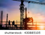 silhouette engineer and worker... | Shutterstock . vector #430885105