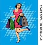 woman with bags shopping.... | Shutterstock .eps vector #430913911