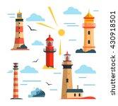 vector set of lighthouses.... | Shutterstock .eps vector #430918501