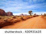 Red Dirt Road In Rocky Desert...