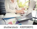 woman's hands holding a credit... | Shutterstock . vector #430938091