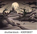 Horror Landscape. Cartoon And...