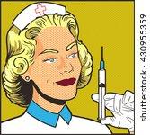 nurse with syringe pop art   Shutterstock .eps vector #430955359