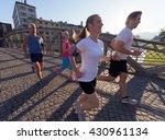 people group jogging  runners... | Shutterstock . vector #430961134