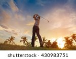golfers hit sweeping golf... | Shutterstock . vector #430983751