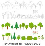 trees  bushes and flowers. set... | Shutterstock .eps vector #430991479