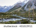 a swing bridge in hooker valley ... | Shutterstock . vector #431015911
