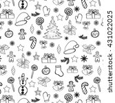 christmas hand drawn seamless... | Shutterstock . vector #431022025
