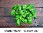 beautiful mint plant on wooden... | Shutterstock . vector #431025907