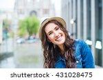 young beautiful laughing woman... | Shutterstock . vector #431028475