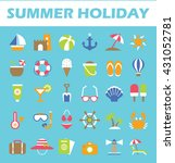 set of beach holiday icons....