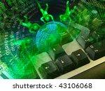 cobweb  keyboard and globe... | Shutterstock . vector #43106068