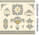 set of line art frames and... | Shutterstock .eps vector #431068981