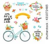 romantic summer set in bright... | Shutterstock .eps vector #431072485
