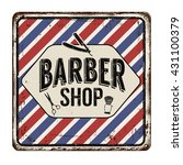 barber shop on vintage rusty... | Shutterstock .eps vector #431100379