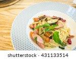 capellini pasta with mushrooms... | Shutterstock . vector #431133514