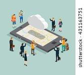 cloud data storage flat 3d... | Shutterstock .eps vector #431163751
