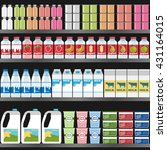 shelf with dairy products on... | Shutterstock .eps vector #431164015