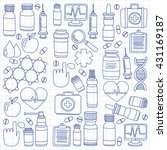 pharmacy and medicine doodle...   Shutterstock .eps vector #431169187