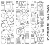 pharmacy and medicine doodle...   Shutterstock .eps vector #431170201