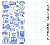 dentistry vector doodle set of...   Shutterstock .eps vector #431171515