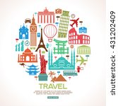 travel background. colorful... | Shutterstock .eps vector #431202409