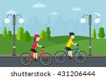 cycling  man with woman on... | Shutterstock .eps vector #431206444